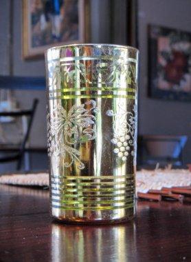 Vintage glass in dark room