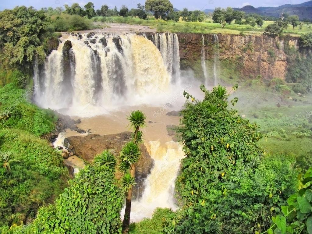Huge river waterfall