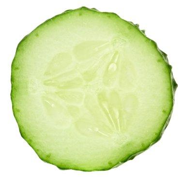 Fresh cucumber slice isolated on white background