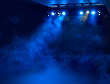 stage for performances in smoke