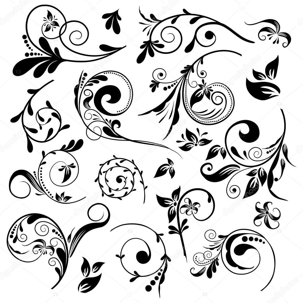 Set Of Black Flower Design Elements Vector Illustration: Set Of Floral Elements For Design, Vector