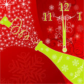 New years background with clock and sparks of a champagne, vect