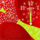 új év háttérrel, óra és a szikra egy pezsgő, vect