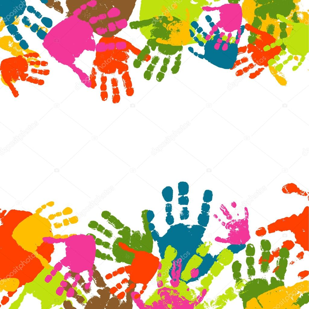 Prints of hands of the child, vector illustration
