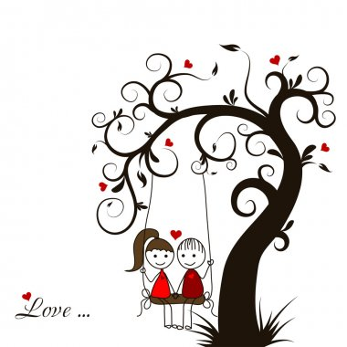 Love story card, vector