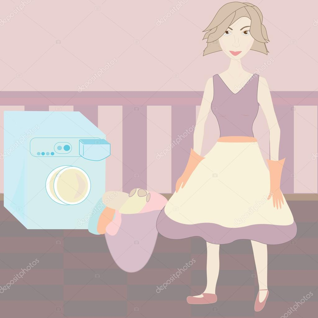 housewife doing laundry in the laundry room