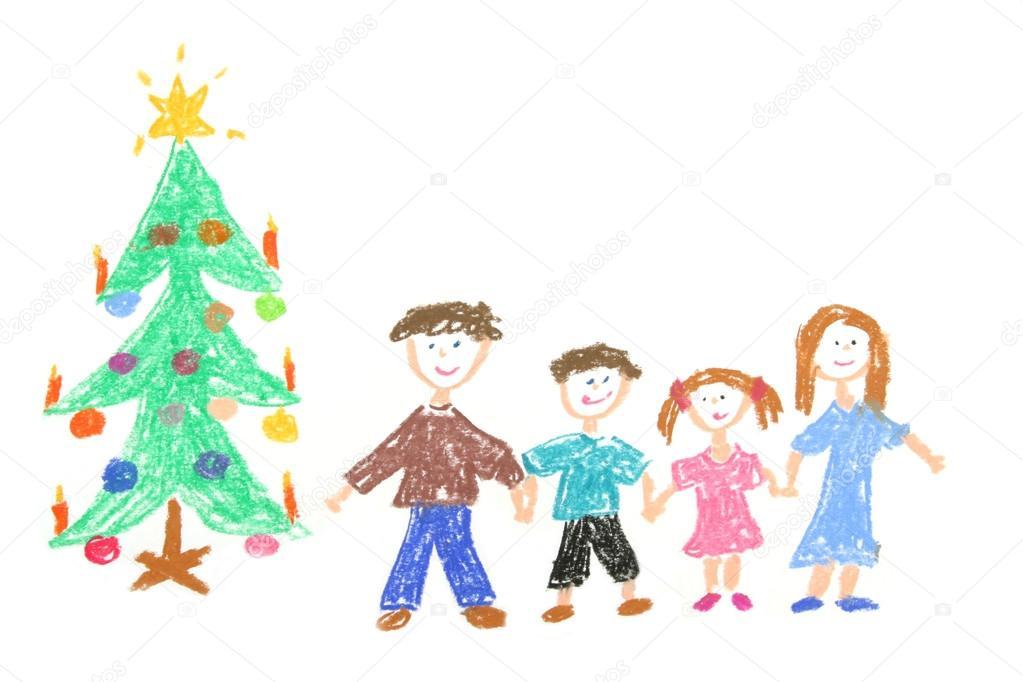 Dibujos: navidad en familia a color | familia y árbol de Navidad ...