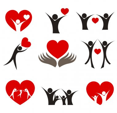 Collection of with hearts - couple, family and health concepts. Vector illustration clip art vector