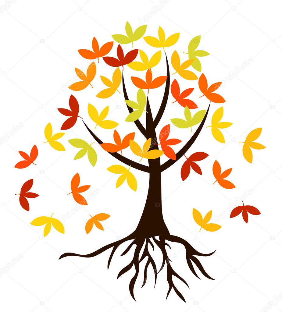 Autumnal tree with roots