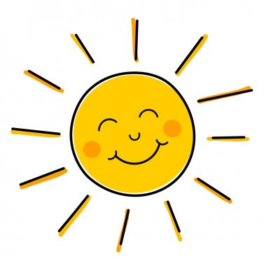 Drawing of happy smiling sun. Vector illustration stock vector