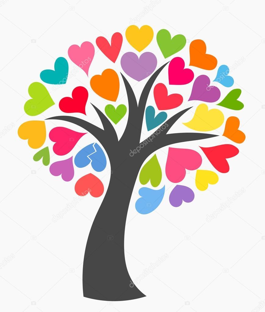Rbol con corazones de colores vector de stock for Immagini vector