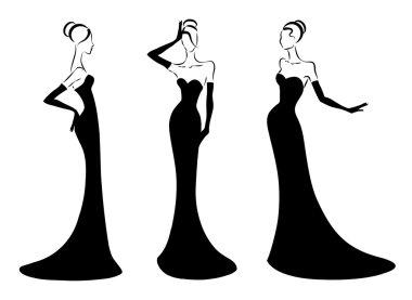 elegant woman in a long black dress