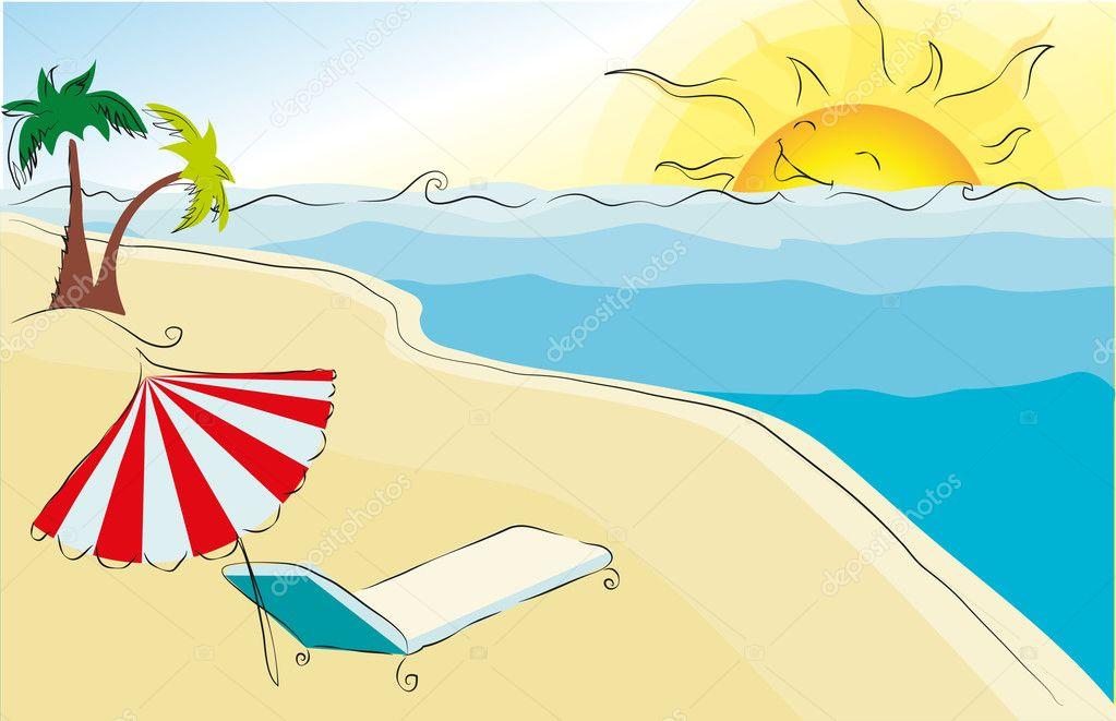 Yaz Plaj Temalı çizim Stok Vektör Nastyazhuravova 21171223