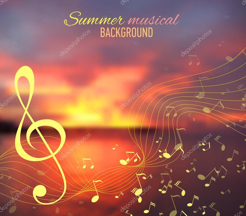 Sea blur background with musical key and notes