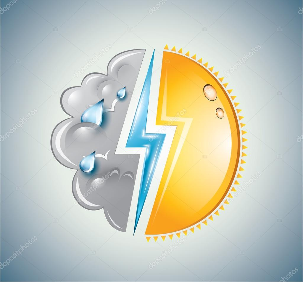 Weather icon with sun, lightning bolt and cloud