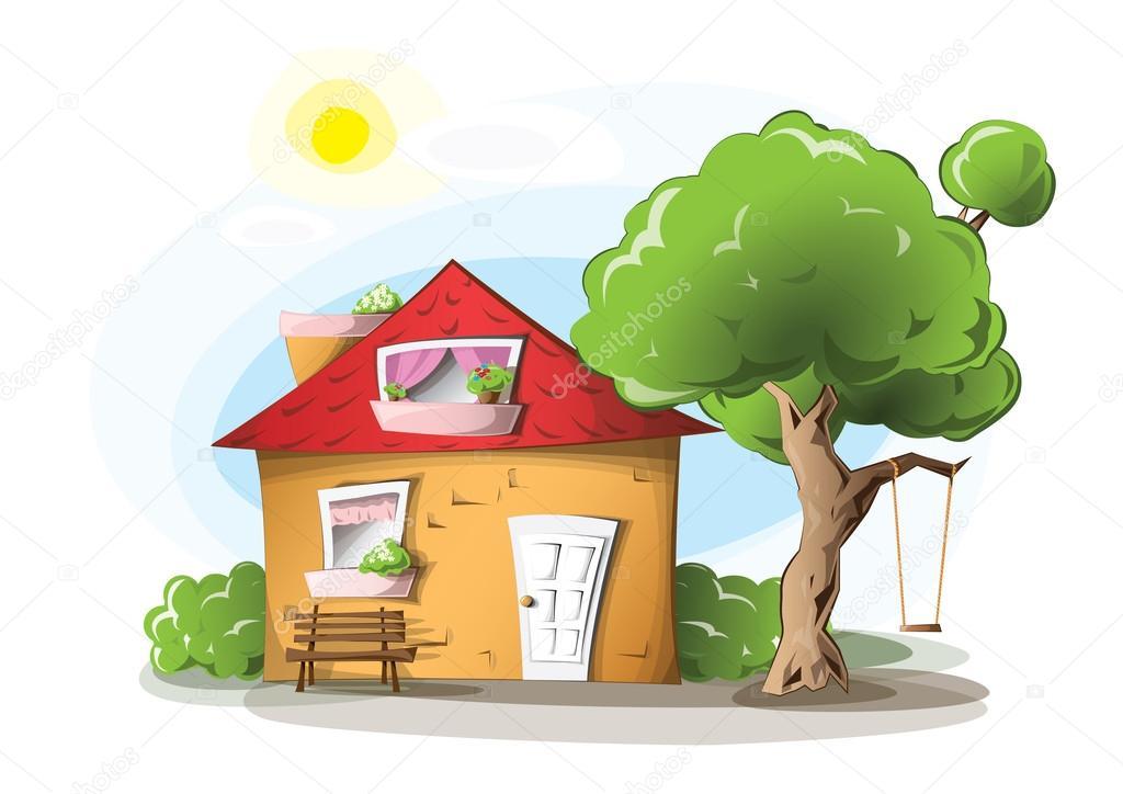 Schommel In Huis : Cartoon huis met een schommel u2014 stockvector © evetodew #25848503
