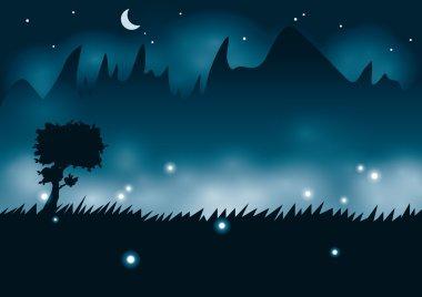 Mountain night with fireflies