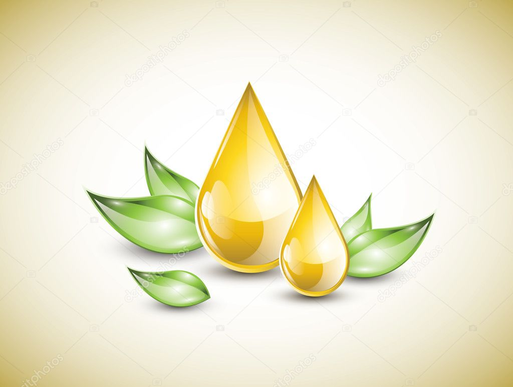 Oil drops on leaves