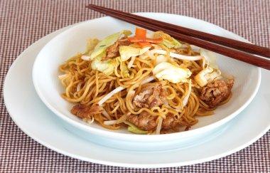 Japanese yakisonba fried noodle with pork