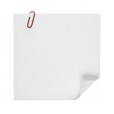 Photo of paper note with clip isolated on a white background. stock vector
