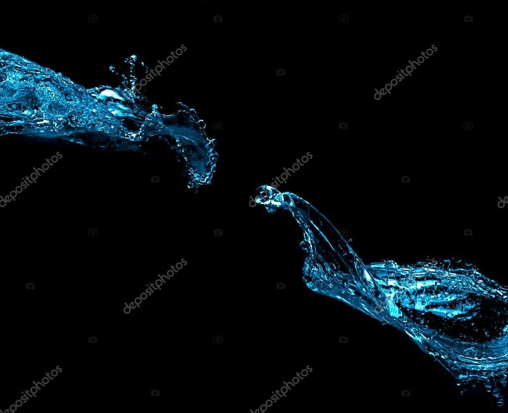 Two Water Splash Isolated on Black Background
