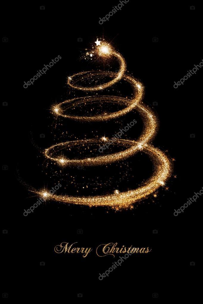 Albero Di Natale Nero E Oro.Fotografie Auguri Di Natale Oro Biglietto Di Auguri Di Natale In