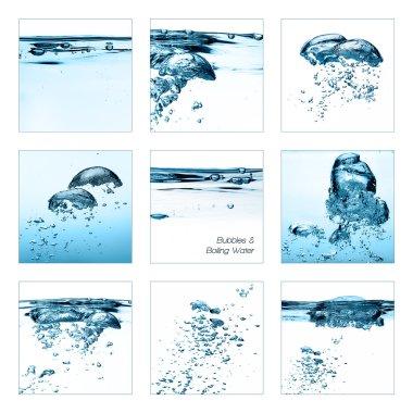 Set of Oxygen Bubbles. Boiling Water