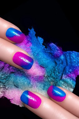 Nail Art. Fluor Nail Polish and Mineral Colorful Eye Shadow