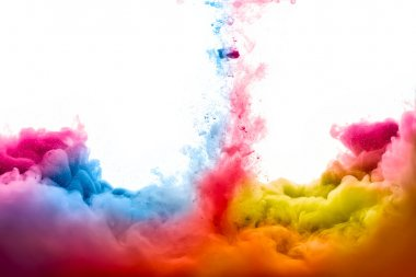 Colorful ink in water isolated on white background. Rainbow of colors stock vector