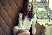 Fotografie Young beautiful woman resting in Paris