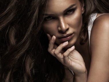 Beauty portrait of serious woman