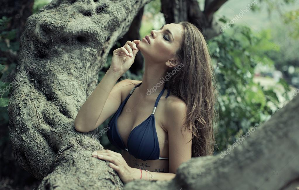 Sexy woman in the jungle
