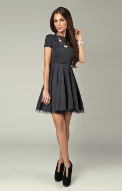 Attractive model wearing beautiful dress