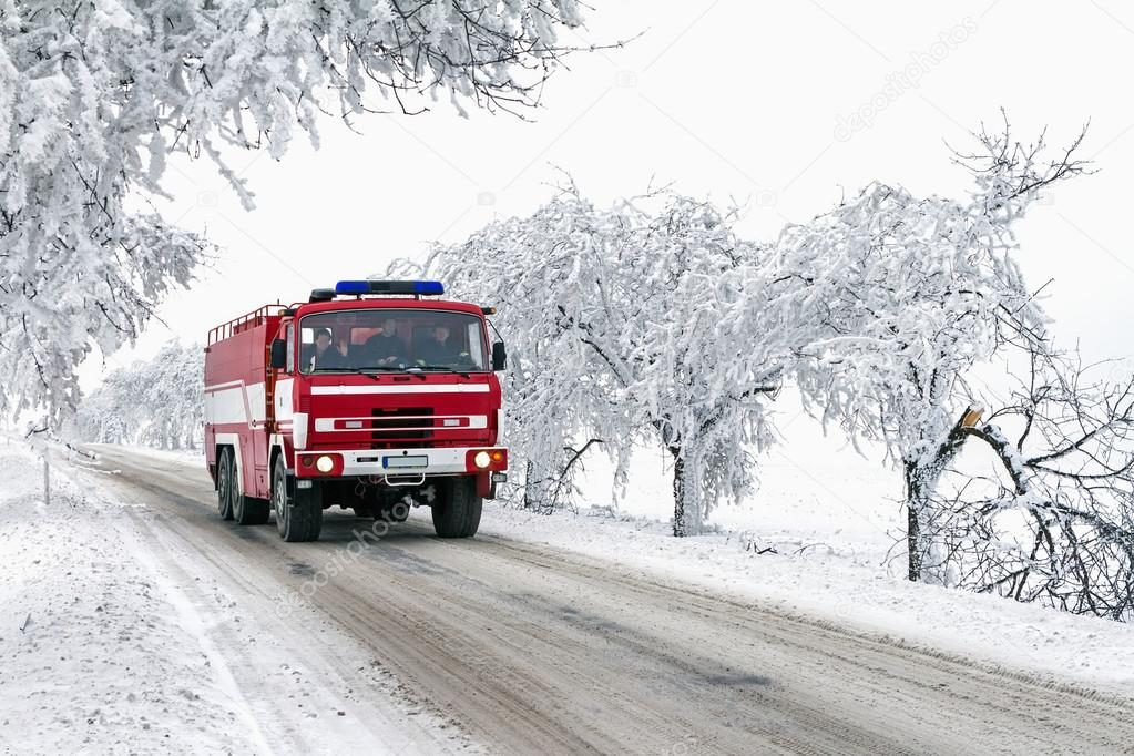 ride fire truck to standby action in freezing weather