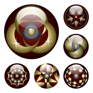 Collection of six glossy buttons