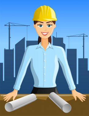 Young woman engineer with building activity in background