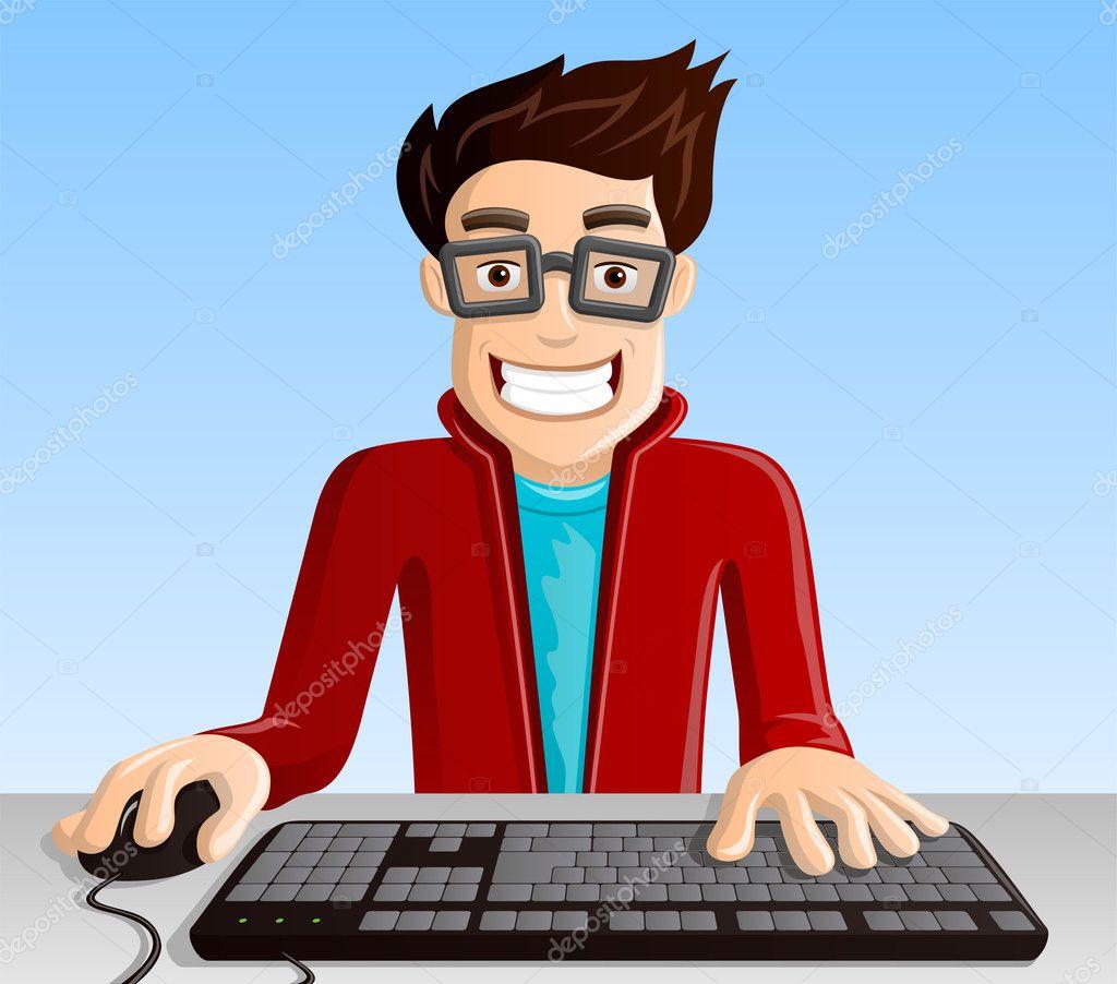 Computer Geek 3 - Pointing — Stock Vector © StellarStock