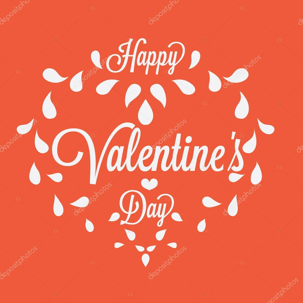 Feier. frohen Valentinstag in orangefarbenen Hintergrund ...