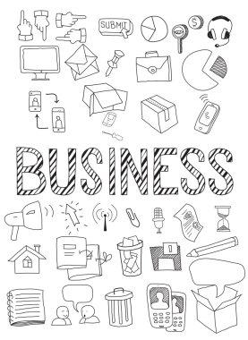 Hand drawn vector illustration set of business.