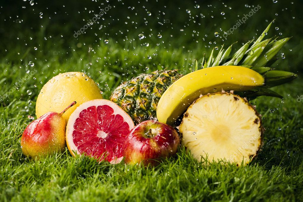 Fresh fruits in the rain.