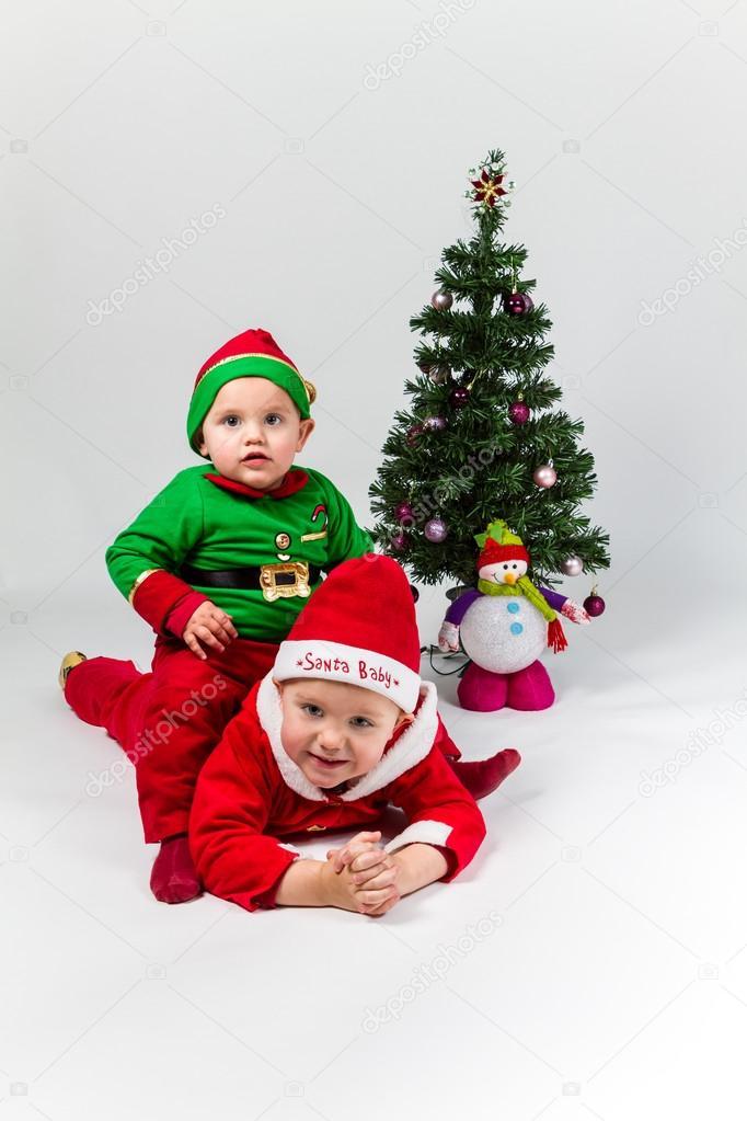 Papa Noel Y Santa Claus Ayudante Bebes De Sexo Masculino Fotos De - Bebes-vestidos-de-papa-noel