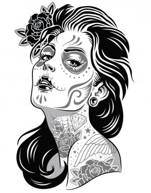 Day of dead girl black and white illustration clip art vector