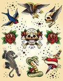 Fotografie Tattoo Flash Vector Elements Set