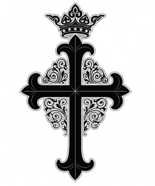 Cross with crown and ornate boarder