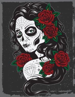 Day of dead girl illustration
