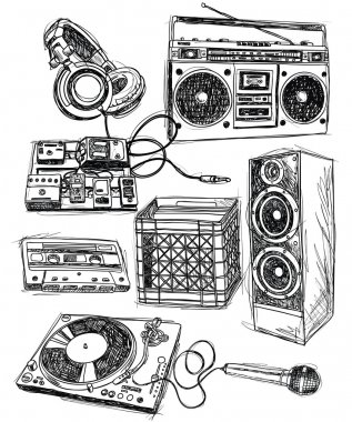 Sketchy Music Elements Vector Set