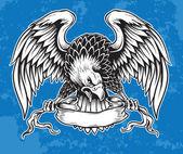 detaillierte Hand gezeichneten Adler, der Schriftrolle Vektor