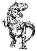 Fotografie Tyrannosaurus Dinosaur Vector Linework Illustration