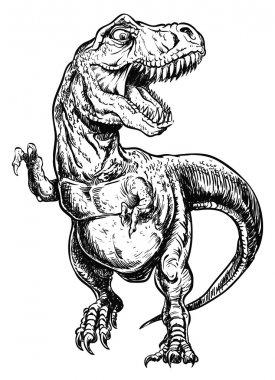 Tyrannosaurus Dinosaur Vector Linework Illustration