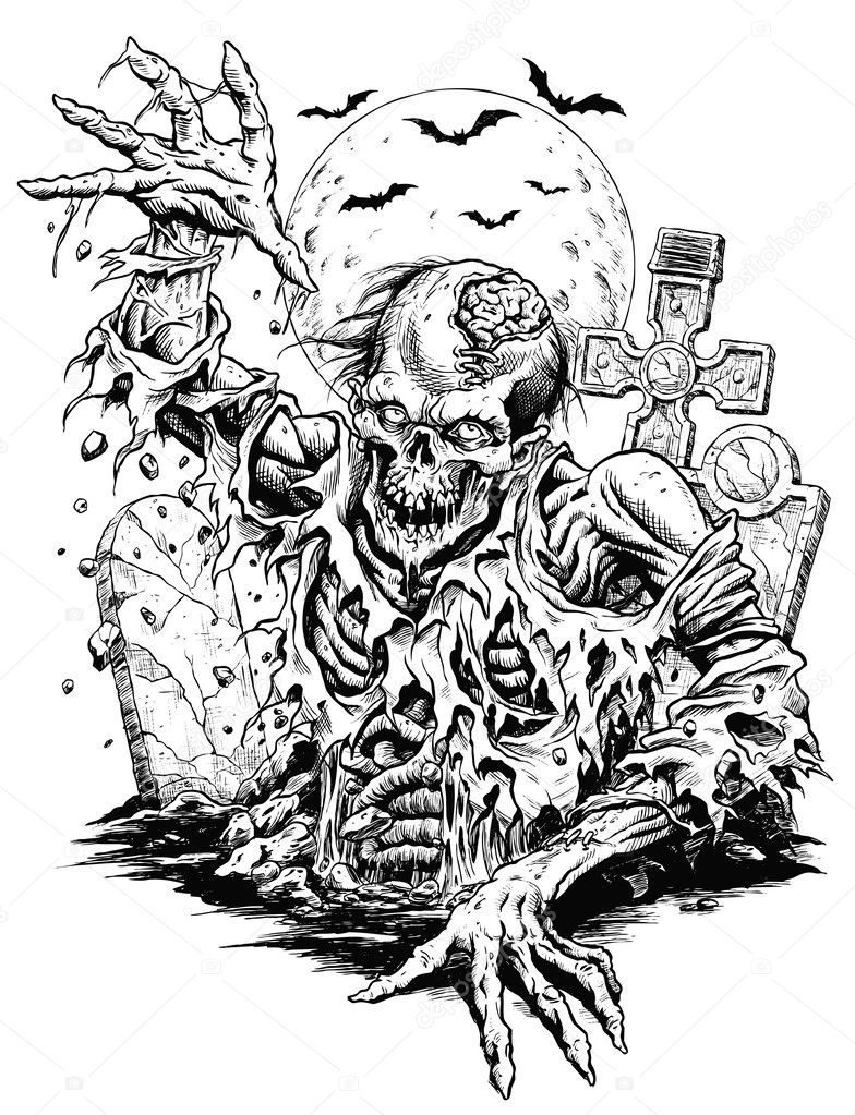 Zombie Comic Vector Illustration